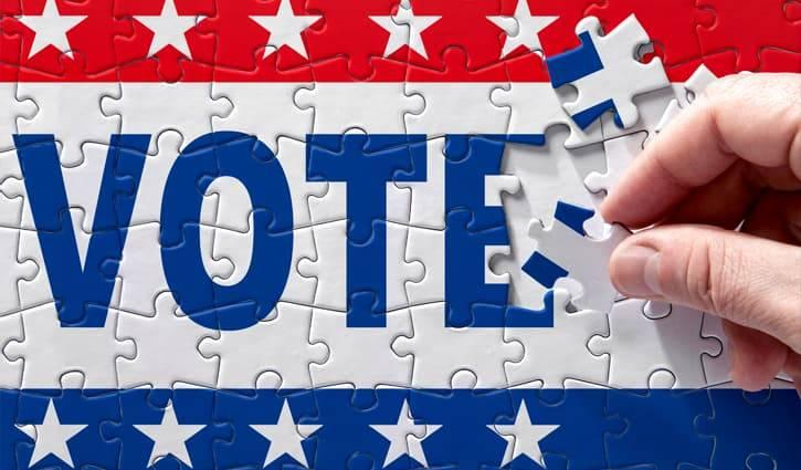 """Patriotic puzzle spells out """"VOTE""""."""