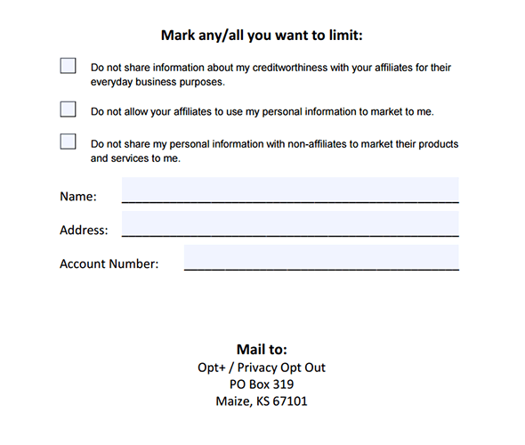 Opt+® Opt Out Form