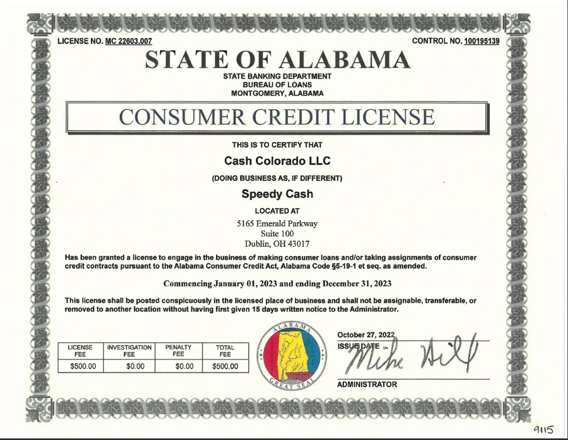 Alabama State License