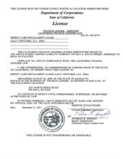 California State Installment Loan License