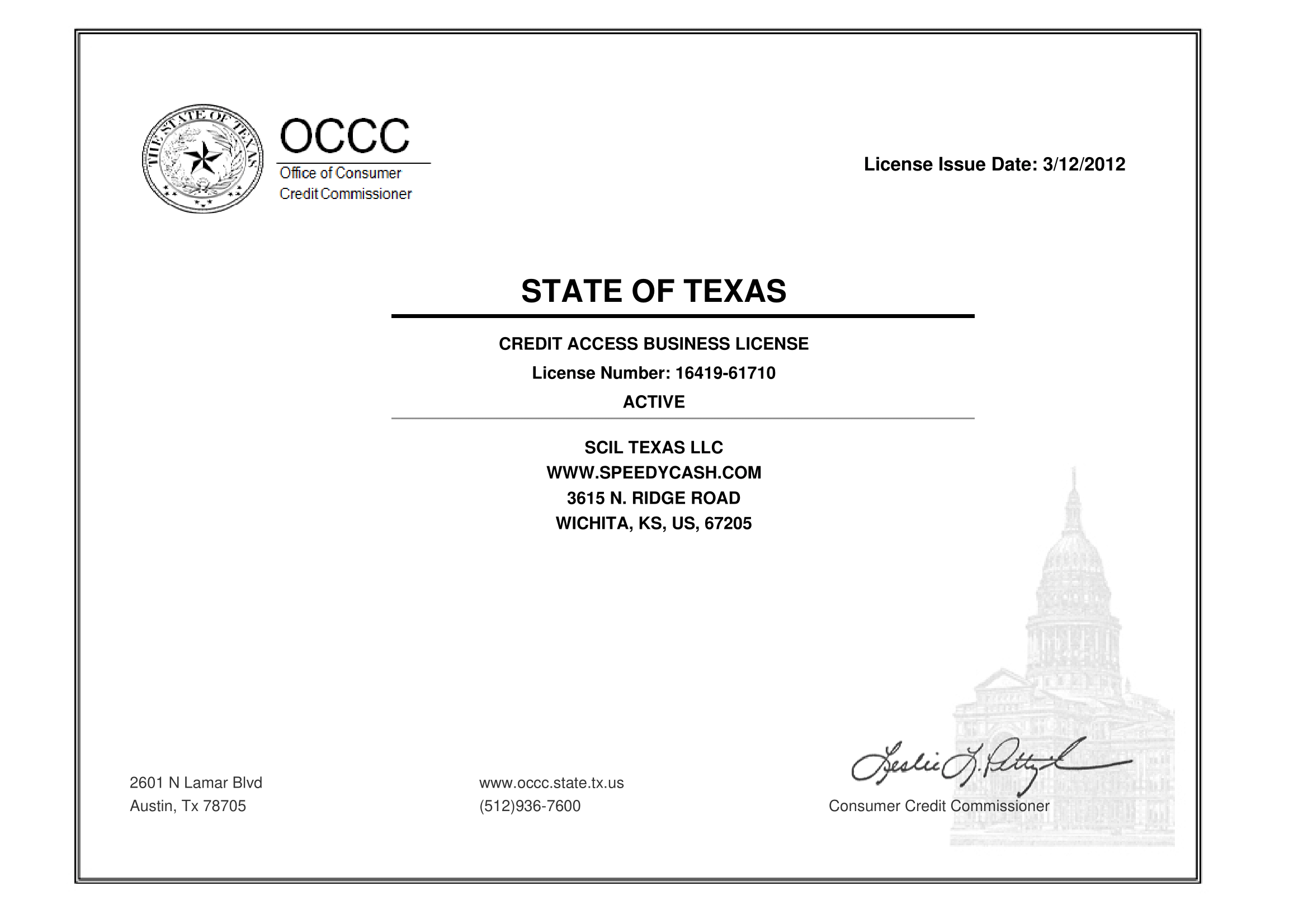 Texas State License